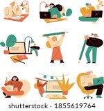 men and women writers working... | Shutterstock .eps vector #1855619764