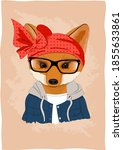 Cute Fox In Clothes And Glasses ...