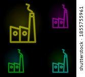 house add neon color set icon....