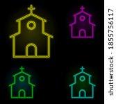 factory neon color set icon....