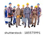 large group of diverse workmen... | Shutterstock . vector #185575991