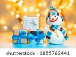Snowman And Boxes With Gifts O...