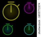 stopwatch sign neon color set...