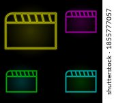 clapperboard sign neon color...