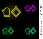 oven mitt neon color set icon....