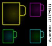 cup neon color set icon. simple ...