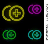 plus sign neon color set icon....