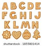freshly baked cookie alphabet... | Shutterstock .eps vector #1855801414