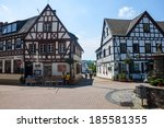 Small photo of RHONDORF, GERMANY - JUNE 11: Traditional village houses in Rhondorf, Germany on June 11, 2013. Rhondorf is a village, where German chancellor Adenauer lived.