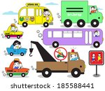 car parade and road sign icons... | Shutterstock .eps vector #185588441