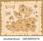 map of treasures on old paper...   Shutterstock .eps vector #1855890574
