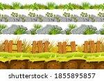 set of seamless border old gray ...   Shutterstock .eps vector #1855895857