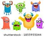 funny cartoon creatures. set of ... | Shutterstock . vector #1855955044