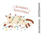 merry christmas  happy siamese...   Shutterstock .eps vector #1855966444