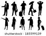 vector silhouettes of business... | Shutterstock .eps vector #185599139
