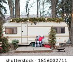 Vintage old travel trailer with ...