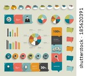 collection of flat infographics ...