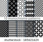 ten monochrome pattern. eps10. | Shutterstock .eps vector #185621624
