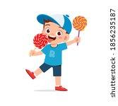 happy cute little kid boy and... | Shutterstock .eps vector #1856235187