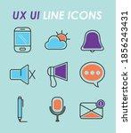 ux ui line icons set over blue...