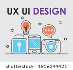 ux ui design icons over white...