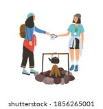young female friends camping... | Shutterstock .eps vector #1856265001