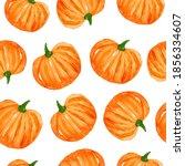 watercolor orange pumpkins... | Shutterstock . vector #1856334607