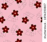 seamless pattern   poinsettia... | Shutterstock .eps vector #1856350807