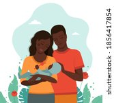 family black beautiful mom and...   Shutterstock .eps vector #1856417854