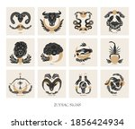 set of zodiac signs icons in... | Shutterstock .eps vector #1856424934