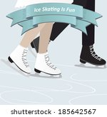 a man and a woman ice skating... | Shutterstock .eps vector #185642567