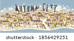 panorama of a european city in... | Shutterstock .eps vector #1856429251