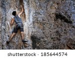 mountaineer in railay krabi ... | Shutterstock . vector #185644574