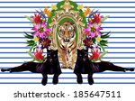 tiger in frame and exotic... | Shutterstock . vector #185647511