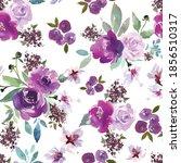 watercolor purple flowers.... | Shutterstock .eps vector #1856510317