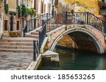 narrow canal among old colorful ... | Shutterstock . vector #185653265