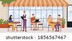 people in outdoor cafe....   Shutterstock .eps vector #1856567467