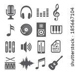 music icons   Shutterstock .eps vector #185667104