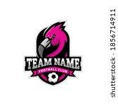 flamingo mascot for a football... | Shutterstock .eps vector #1856714911