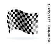 checkered racing waving flag....   Shutterstock .eps vector #1856723641