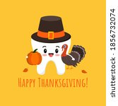 thanksgiving tooth in pilgrim... | Shutterstock .eps vector #1856732074