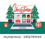 christmas online greeting.... | Shutterstock .eps vector #1856785444