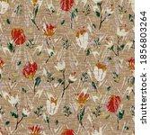 seamless floral sepia grunge... | Shutterstock . vector #1856803264
