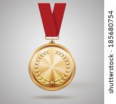 Vector Gold Medal On Red Ribbo...