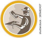 illustration of a plasterer... | Shutterstock .eps vector #185682437