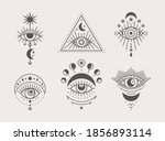 set of mystical eyes  sun and... | Shutterstock .eps vector #1856893114
