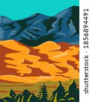 Great Sand Dunes National Park and Preserve in Colorado United States WPA Poster Art Color