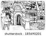 the sketch coloring page  ... | Shutterstock . vector #185690201