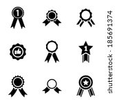 vector black award medal icons... | Shutterstock .eps vector #185691374