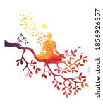 yoga meditation with tree tree... | Shutterstock .eps vector #1856926357